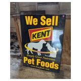 """We Sell Kent Pet Foods"" Metal Sign"