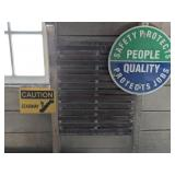 Safety Signs:  This lot has a round metal safety