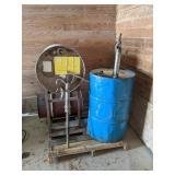 Oil Barrels, Stand & Pumps
