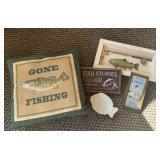 Fishing print, 3 wall hangings, dish, & pillow