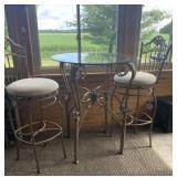 Glass top, metal base, table & stools