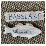 Bass Lake wood welcome sign & canoe