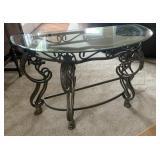 Metal and glass sofa table