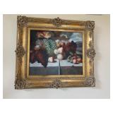 Fruit still life painting on canvas, L. Marion