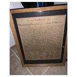Framed copy of Constitution