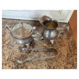 Silver plate cream and sugar, tongs