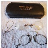 Antique eye glasses - 2 pair & case