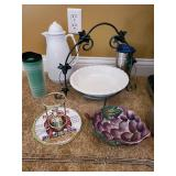 Carafe, pie plate display, grape bowl