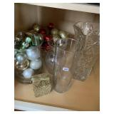 Vase & bowls with Christmas decorations
