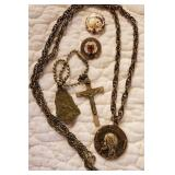 Religious pins and necklace, Lutheran & Catholic