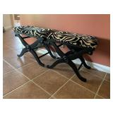 Animal print upholstered benches