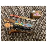 Letter openers, wood box,  desk flags