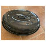 Blue granite roaster with lid