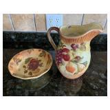 Fruit pattern pitcher, bowl & canister set