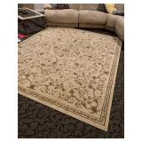 Area rug with ivory background