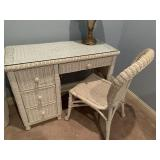White wicker desk and chair