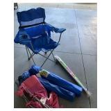 Bag chairs and umbrella