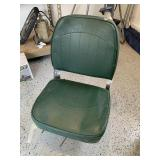 Green vinyl covered boat seat