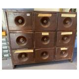 Wood 9 drawer cabinet, NO contents