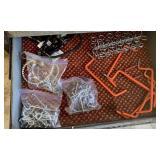 Peg board hooks, hangers, straps