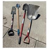 Shovels, scoop, spades, pointed