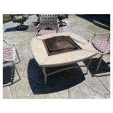 Fire pit and 3 chairs with cushions
