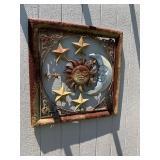 Metal moon, sun, stars wall hanging
