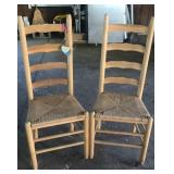 2 woven seat ladder back chairs