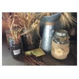 Galvanized pitcher and ball jars with dried