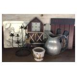 Rooster decor, metal pitcher and candle holder