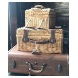 Picnic baskets and hard side suitcase
