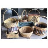 Hand woven wood slat baskets