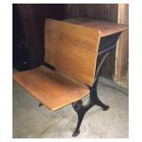 Iron frame wood seat school desk
