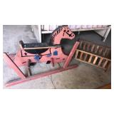 Wooden rocking horse and doll bed