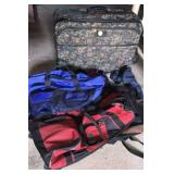 Duffels and floral luggage
