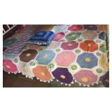 Full size crochet Afghan and pillow, quilted