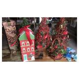 Grape vine Christmas trees, decorated boxes