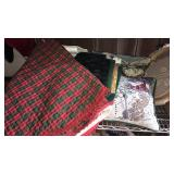 Christmas placemats, linens and tree skirt