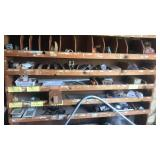 Wooden shelving with bays. CONTENTS INCLUDED
