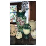 Hand painted vase and pottery pieces