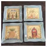 4 folk art 10.5 inch serving plates