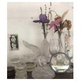 Glass eagle, vases , hand painted glass