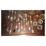 Collector spoons, salt cellars