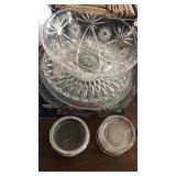 Clear glass serving platters and large bowl