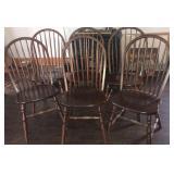 6 dark wood Windsor chairs