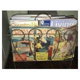 Magazine rack and 3 vintage magazines