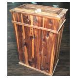 Cedar wood hamper storage table