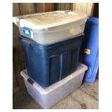 3 storage totes and extra lid