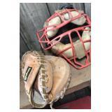 Catchers mitt and mask