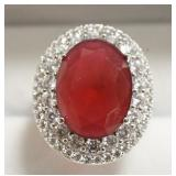 Ladies Sterling Silver 8.12 Ct Ruby Ring